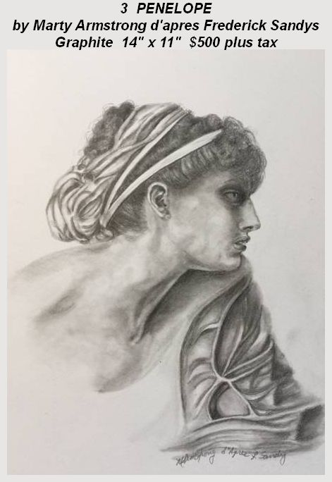 """""""Penelope"""" tribute graphite artwork by Marty Armstrong d'apres Frederick Sandy"""