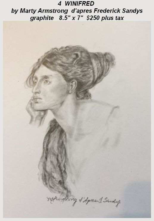 """""""Winifred"""" tribute graphite artwork by Marty Armstrong d'apres Frederick Sandy"""